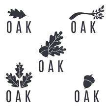 Set Of Logos On An Oak Tree Wi...