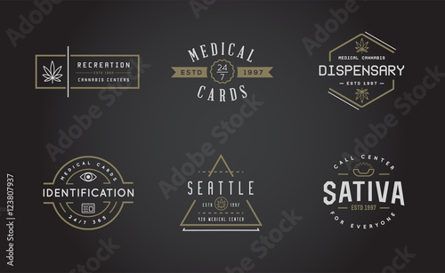 Photo  Set of Medical Cannabis Marijuana Sign or Label Template in Vect