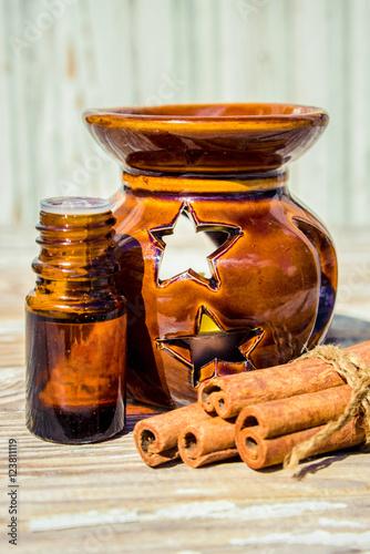Essential cinnamon oil. Canvas Print