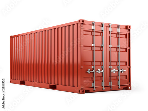 Fotografia  Red cargo freight shipping container against a white background