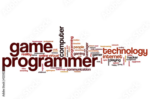 Game programmer word cloud Poster