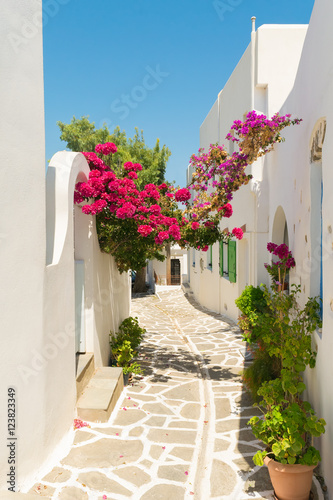 Printed kitchen splashbacks Narrow alley Beautiful alley with pink flowers at Prodromos local village of Paros island in Greece.