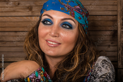 0da357b2699 Fashion portrait of beautiful hippie young woman wearing boho chic clothes