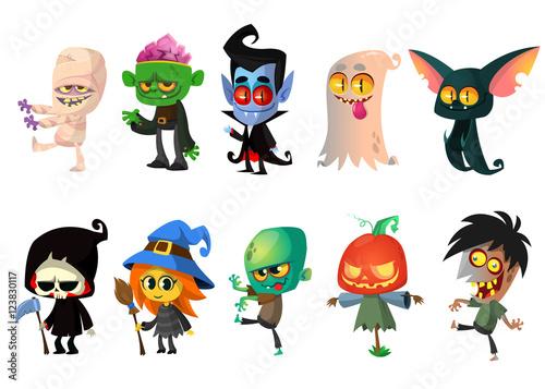 Photo  Set of Halloween characters