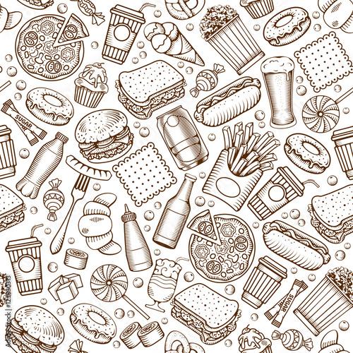 Tapety z jedzeniem i napojami fast-food-bez-szwu-desen