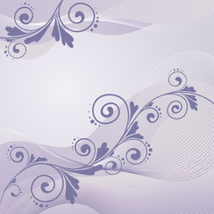Fototapeta floral ornament on purple background, vector