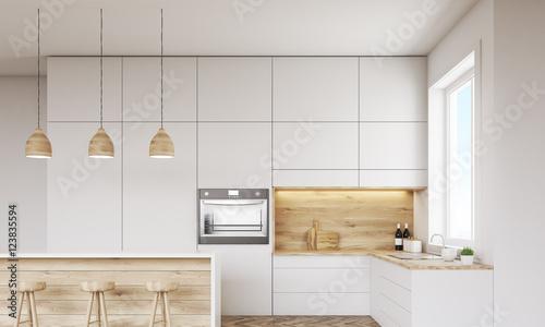 Fototapeta Kitchen with oven and window obraz na płótnie