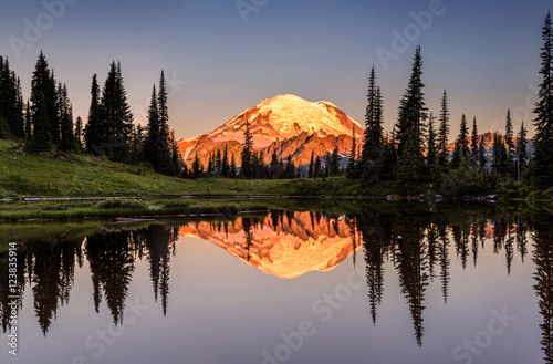 Poster Taupe Mount Rainier reflection from Tipsoo Lake