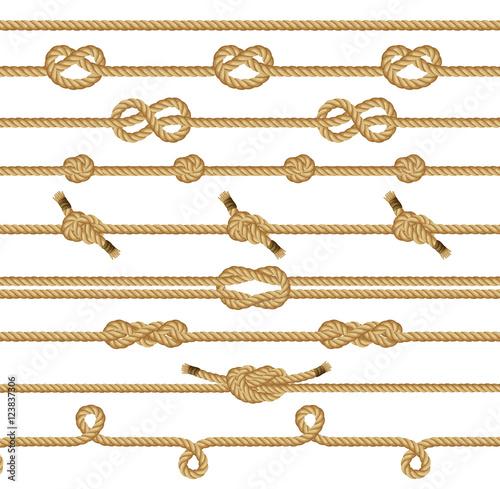 Brown rope knots collection Billede på lærred