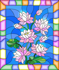 Obraz na PlexiIllustration in stained glass style with flowers, buds and leaves of Lotus