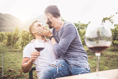 Fotografie, Obraz  Gay couple kissing