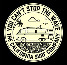 Surf Label With Van And Surf E...