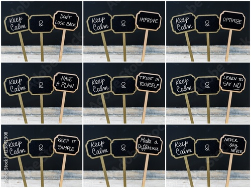 Foto  Photo collage of Keep Calm messages written with chalk on mini blackboard labels