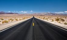 Empty Road Running Through  De...