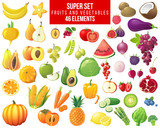 fruits, vegetables and berries super set - 123844382
