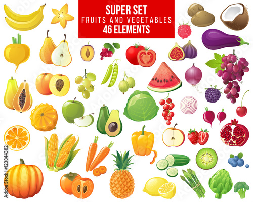 Poster Cuisine fruits, vegetables and berries super set