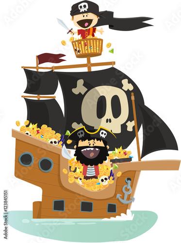 Plakat statek piracki i skarb