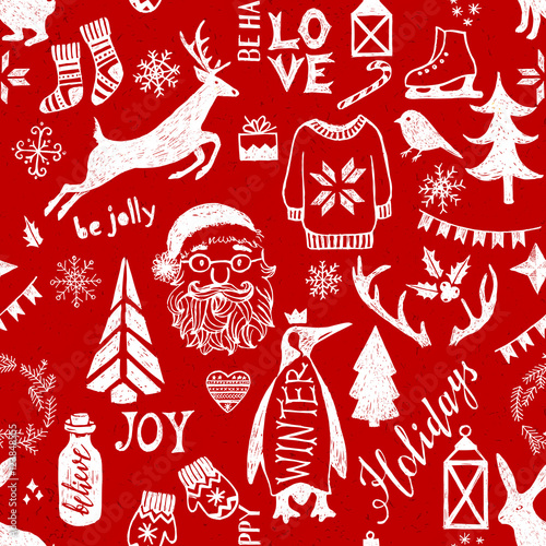 Cotton fabric Hand drawn Christmas seamless pattern