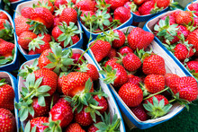 Strawberries For Sale At A Market In Aix-en-Provence, France.