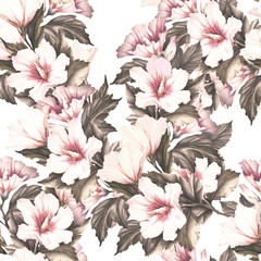 FototapetaSeamless pattern with hibiscus. Hand draw watercolor illustration.
