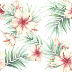 FototapetaSeamless pattern with tropical flowers and leaves. Watercolor illustration.