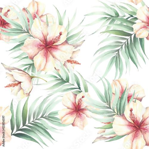 bezszwowy-wzor-z-tropikalnymi-kwiatami-i-liscmi-ilustracja-akwarela