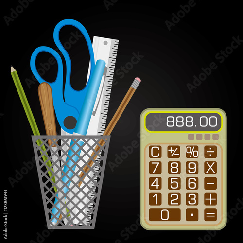 Fotografie, Obraz  Mesh style Pen holder with small calculator