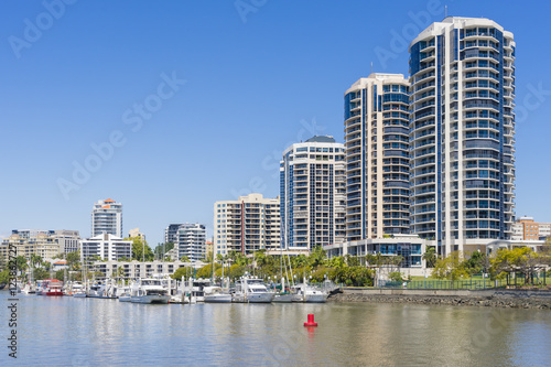 Waterfront apartments and marina in Brisbane