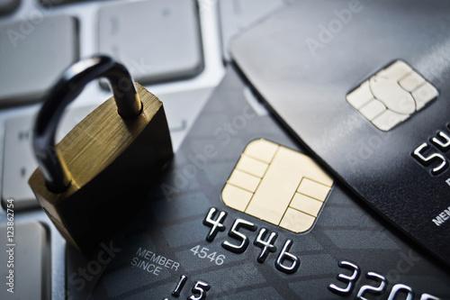 Fotografie, Obraz  Credit card data security concept / Data encryption on credit card