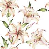 Bezszwowy wzór z lelujami. Ręcznie rysować akwarela ilustracja - 123863550