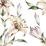 Seamless pattern with lilies. Hand draw watercolor illustration - 123863565