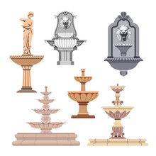 Vector Set Of Different Fountains. Design Elements And Icons