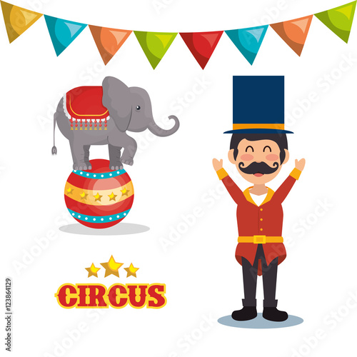 Valokuva  circus elephant and happy man festival show over white background