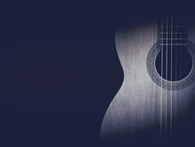 Part Of A Blue Acoustic Guitar On Black Background.