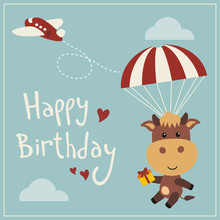 Happy Birthday! Funny Cow Flying On Parachute With Gift. Сard In Cartoon Style.