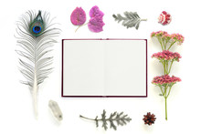 Natural Composition With Notebook On White Background