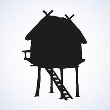 Hut On Legs. Vector Drawing