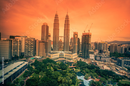 Kuala lumpur, Malaysia city skyline in the evening Poster