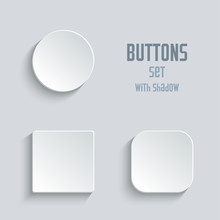 Vector White Blank Button Set. Round Square Rounded Buttons