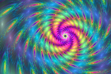 Rainbow Swirl. Creative Fractal Design For Greeting Cards Or T-s