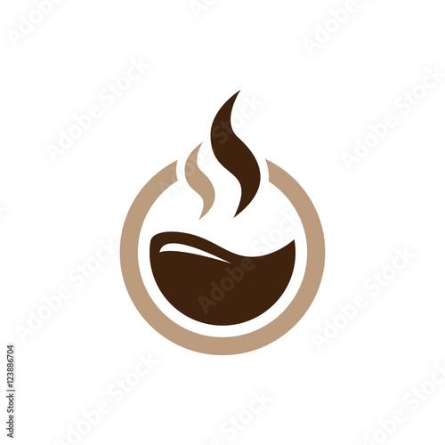 Fototapeta Circle Hot Coffee - Chocolate Simple Logo Icon Symbol obraz