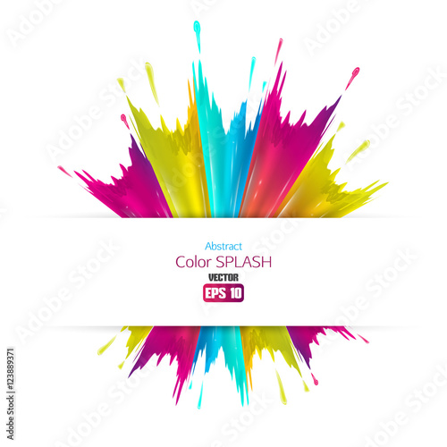 Deurstickers Vormen Abstract colored splashes isolated on white background. Vector illustration.