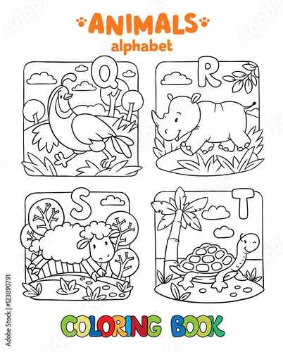 Animals alphabet or ABC. Coloring book - Buy this stock vector and ...