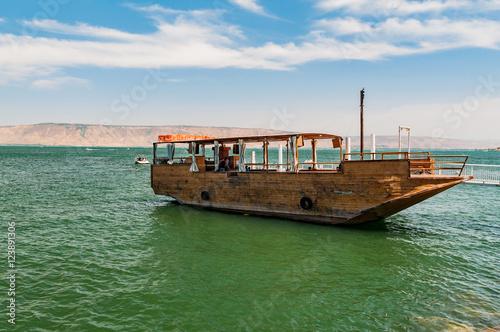 boat for tourists at lake of gennesaret, israel Fototapeta