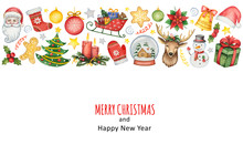 Hand Painted Watercolor Background With Elements For Merry Christmas And Happy New Year.