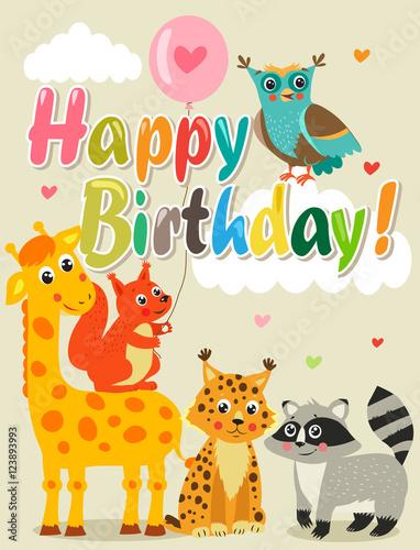 Happy Birthday Card With Funny Animals Vector Illustration Happy