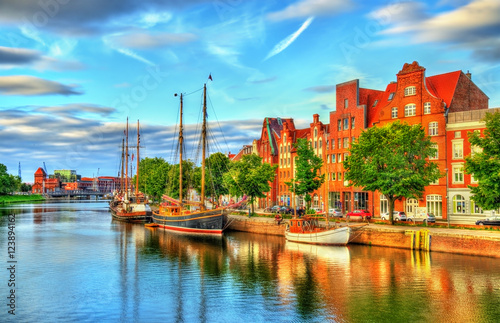 Canvas Prints Ship The Trave River in Lubeck - Germany
