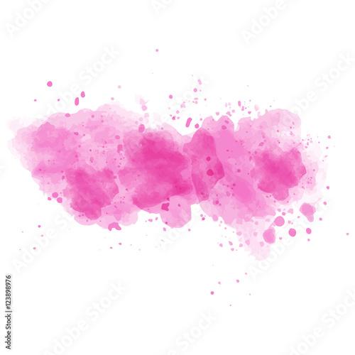Różowa akwarela malująca plama odizolowywająca na białym tle