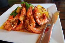 Delicious Prawns On A Plate
