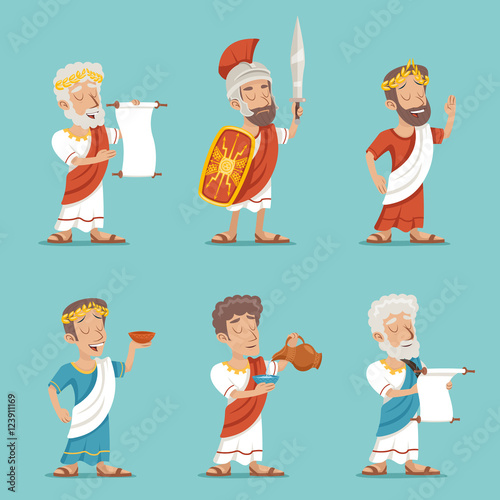 Fototapeta Greek Roman Retro Vintage Character Icon Set Cartoon Design Vector Illustration